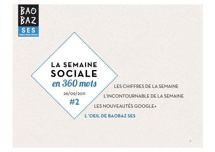 LA SEMAINESOCIALE  360                    LES CHIFFRES DE LA SEMAINE  26/09/2011                    L'INCONTOURNABLE DE LA...