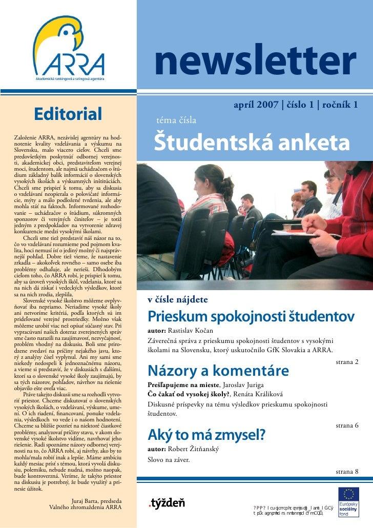 newsletter                                                                                 apríl 2007 | číslo 1 | ročník 1...