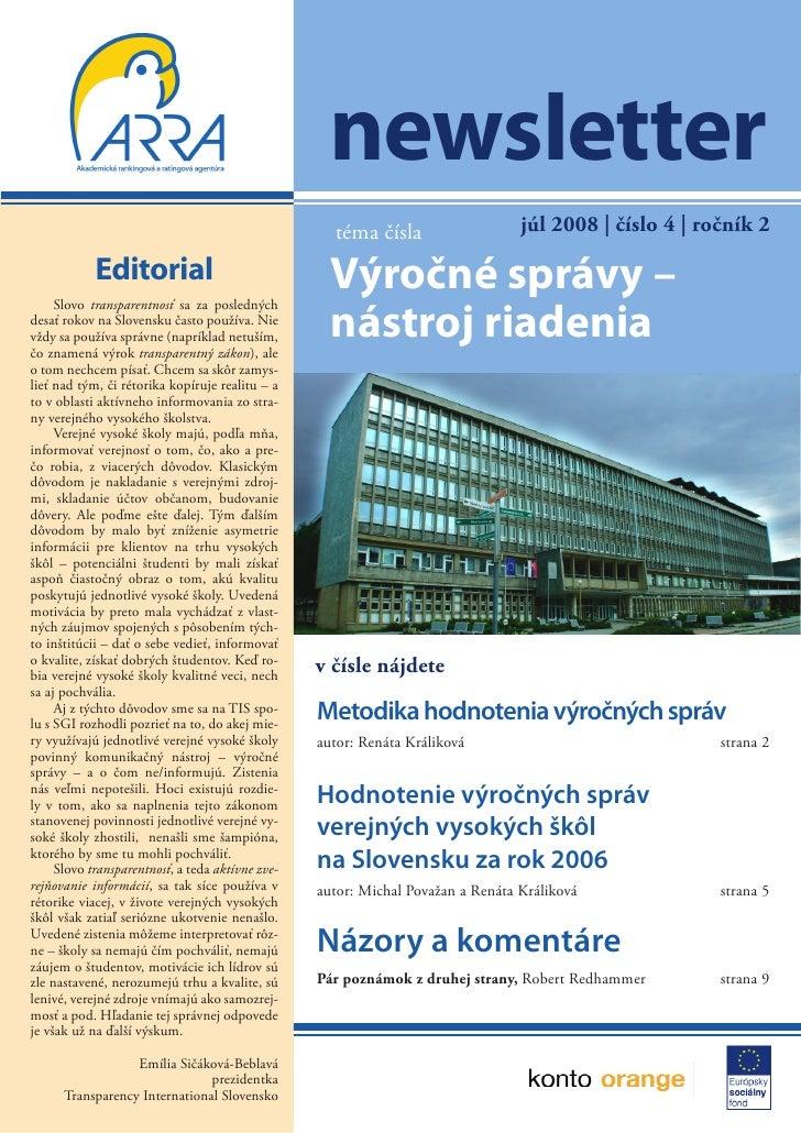 newsletter                                                    téma čísla                   júl 2008 | číslo 4 | ročník 2  ...