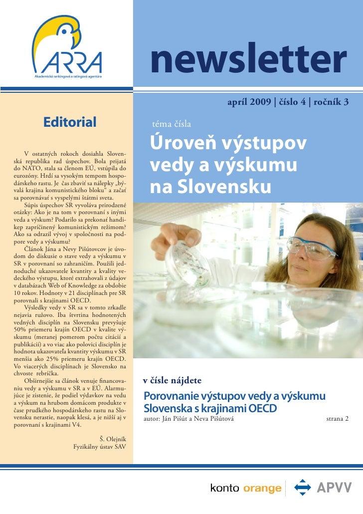 newsletter                                                                               apríl 2009 | číslo 4 | ročník 3  ...