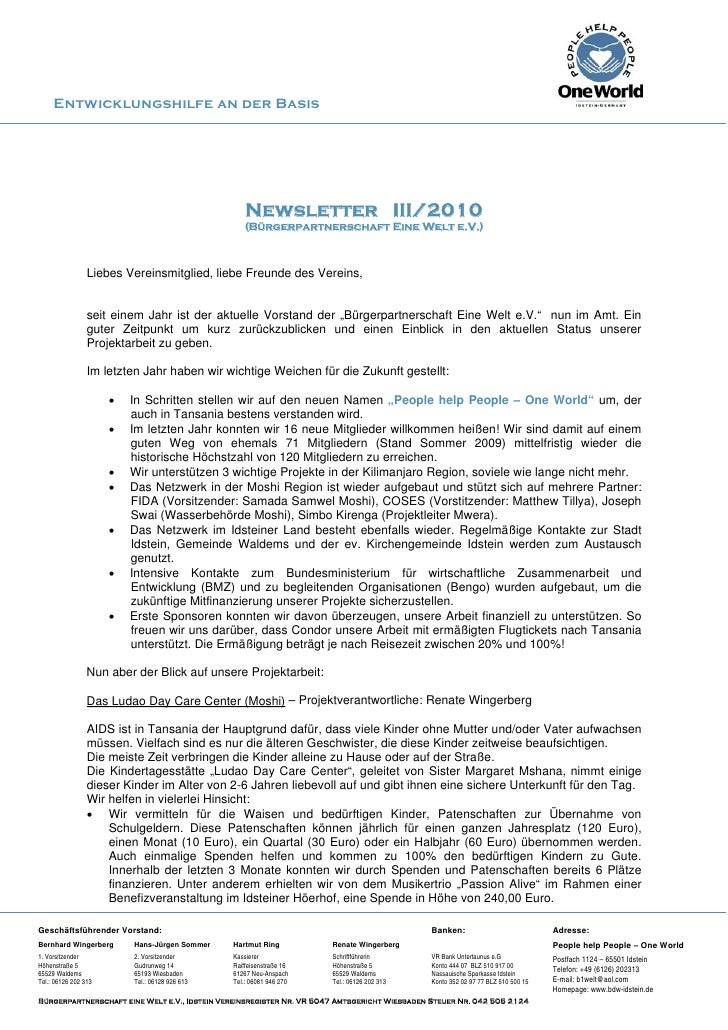 Entwicklungshilfe an der Basis                                                         Newsletter III/2010                ...