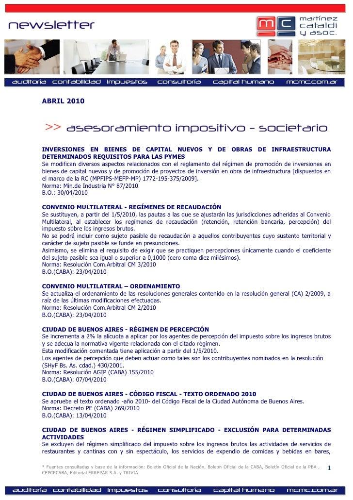 ABRIL 2010     INVERSIONES EN BIENES DE CAPITAL NUEVOS Y DE OBRAS DE INFRAESTRUCTURA DETERMINADOS REQUISITOS PARA LAS PYME...
