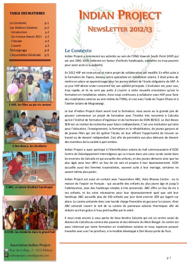 TABLE DES MATIERES    Le Contexte                 p.1    Les Ateliers Solaires       p.2     Introduction                p...