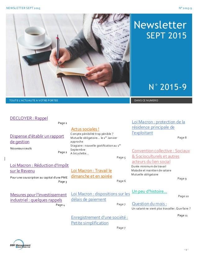 NEWSLETTER SEPT 2015 N° 2015-9 - 1 - Newsletter SEPT 2015 N° 2015-9 TOUTE L'ACTUALITE A VOTRE PORTEE DANS CE NUMERO DECLOY...