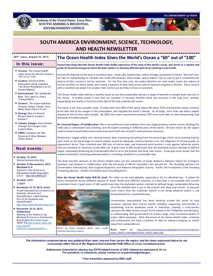 SOUTH AMERICA ENVIRONMENT, SCIENCE, TECHNOLOGY,                                      AND HEALTH NEWSLETTER205 t h issue, A...