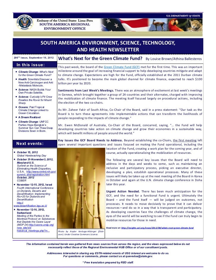 SOUTH AMERICA ENVIRONMENT, SCIENCE, TECHNOLOGY,                                    AND HEALTH NEWSLETTER206 t h issue, Sep...