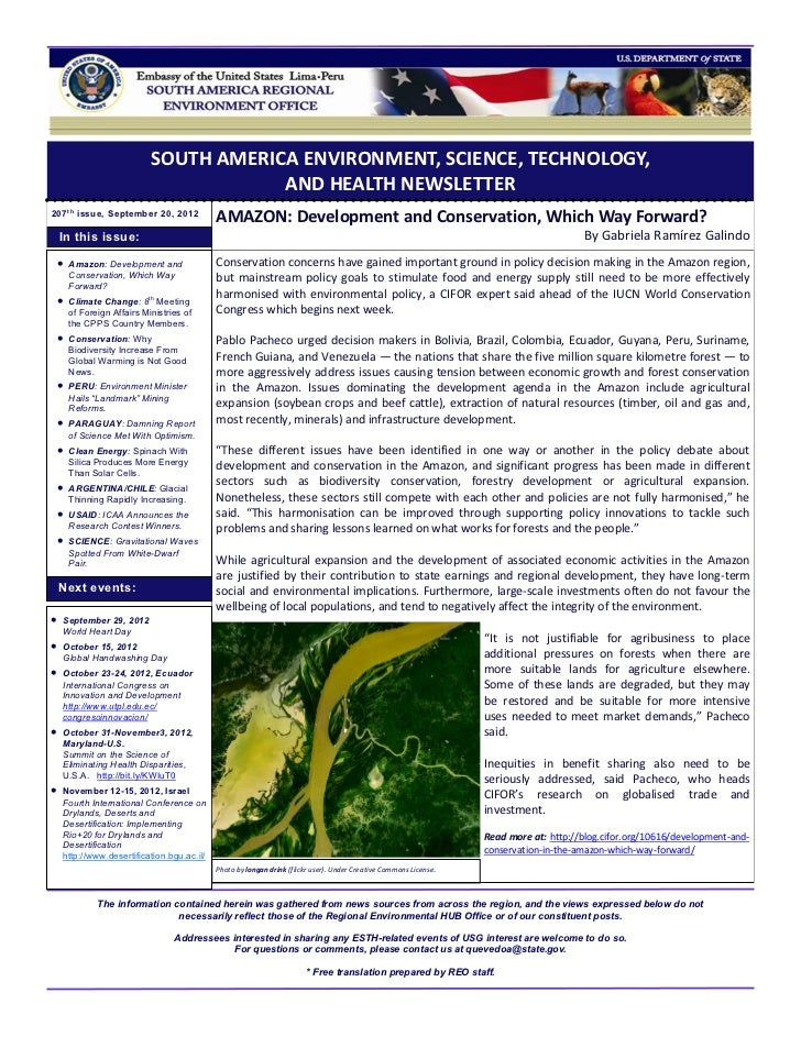 SOUTH AMERICA ENVIRONMENT, SCIENCE, TECHNOLOGY,                                      AND HEALTH NEWSLETTER207 t h issue, S...