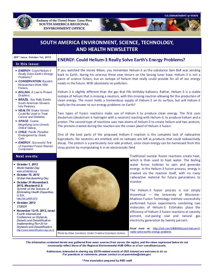 SOUTH AMERICA ENVIRONMENT, SCIENCE, TECHNOLOGY,                                     AND HEALTH NEWSLETTER208 t h issue, Oc...