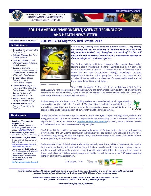 SOUTH AMERICA ENVIRONMENT, SCIENCE, TECHNOLOGY,                                       AND HEALTH NEWSLETTER209 t h issue, ...