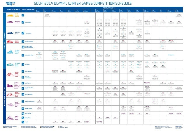 Sochi 2014 Olympic Winter Games Competition Schedule