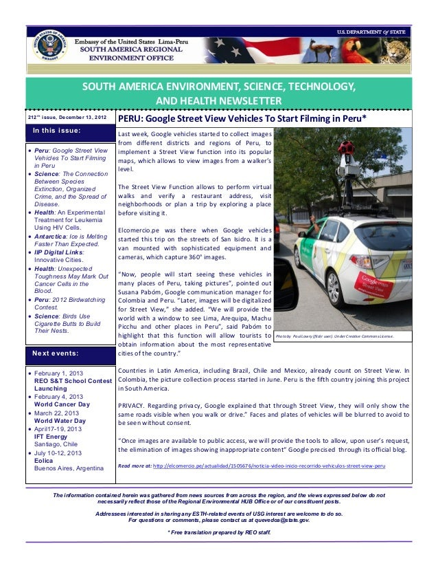 SOUTH AMERICA ENVIRONMENT, SCIENCE, TECHNOLOGY,                                  AND HEALTH NEWSLETTER212 t h issue, Decem...