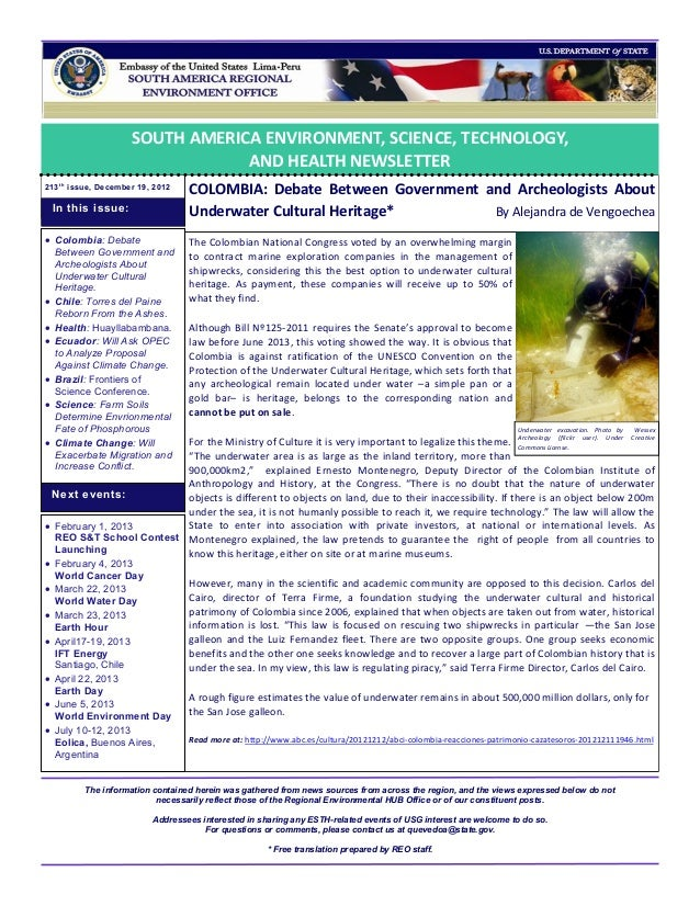SOUTH AMERICA ENVIRONMENT, SCIENCE, TECHNOLOGY,                                  AND HEALTH NEWSLETTER213 t h issue, Decem...