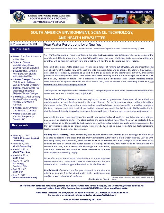 SOUTH AMERICA ENVIRONMENT, SCIENCE, TECHNOLOGY,                                   AND HEALTH NEWSLETTER215 t h issue, Janu...