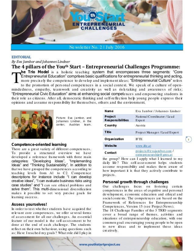 1 Newsletter No. 2   July 2016 EDITORIAL By Eva Jambor and Johannes Lindner The 4 pillars of the Youth Start – Entrepreneu...