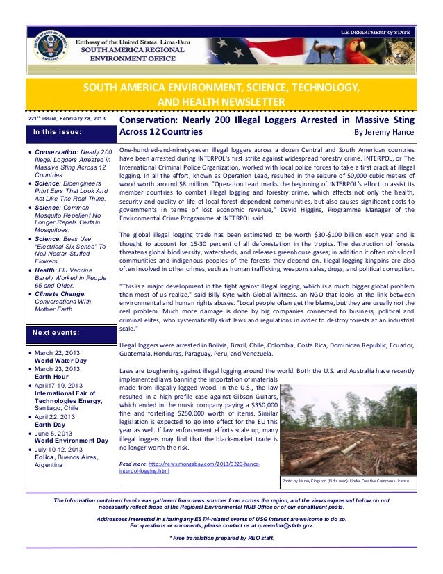 SOUTH AMERICA ENVIRONMENT, SCIENCE, TECHNOLOGY,                                  AND HEALTH NEWSLETTER221 t h issue, Febru...