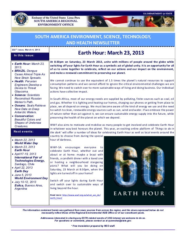 SOUTH AMERICA ENVIRONMENT, SCIENCE, TECHNOLOGY,                                   AND HEALTH NEWSLETTER222 t h issue, Marc...