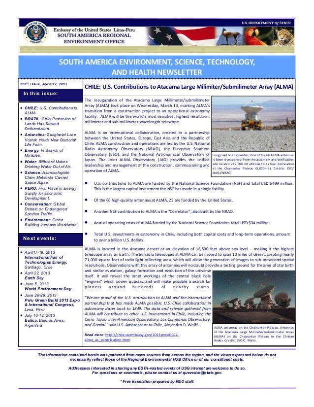 SOUTH AMERICA ENVIRONMENT, SCIENCE, TECHNOLOGY,                                    AND HEALTH NEWSLETTER223 t h issue, Apr...