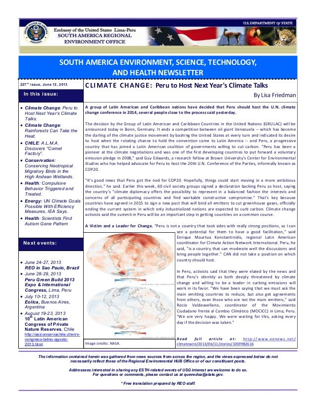 SOUTH AMERICA ENVIRONMENT, SCIENCE, TECHNOLOGY, AND HEALTH NEWSLETTER 227t h issue, June 12, 2013 CLIMATE CHANGE: Peru to ...
