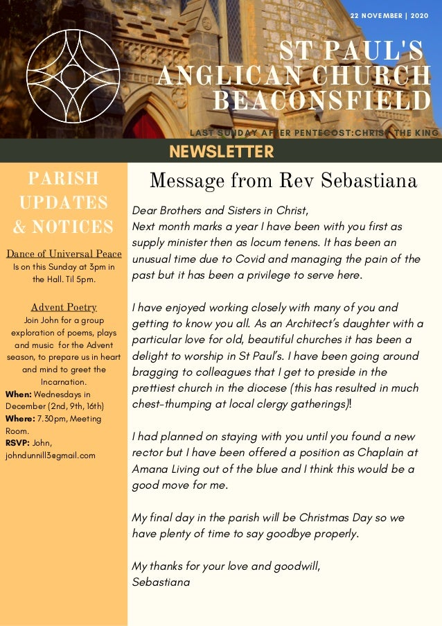 NEWSLETTER ST PAUL'S ANGLICAN CHURCH BEACONSFIELD LAST SUNDAY AFTER PENTECOST:CHRIST THE KING 22 NOVEMBER   2020 PARISH UP...