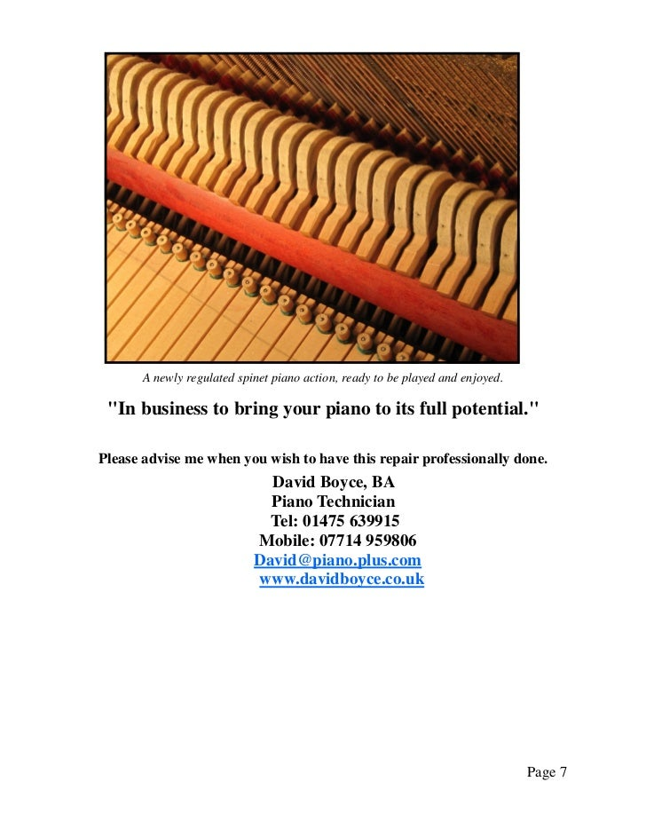 """A newly regulated spinet piano action, ready to be played and enjoyed. """"In business to bring your piano to its full potent..."""
