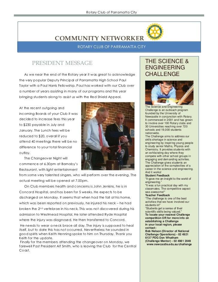 Rotary Club of Parramatta City                      COMMUNITY NETWORKER                                      ROTARY CLUB O...