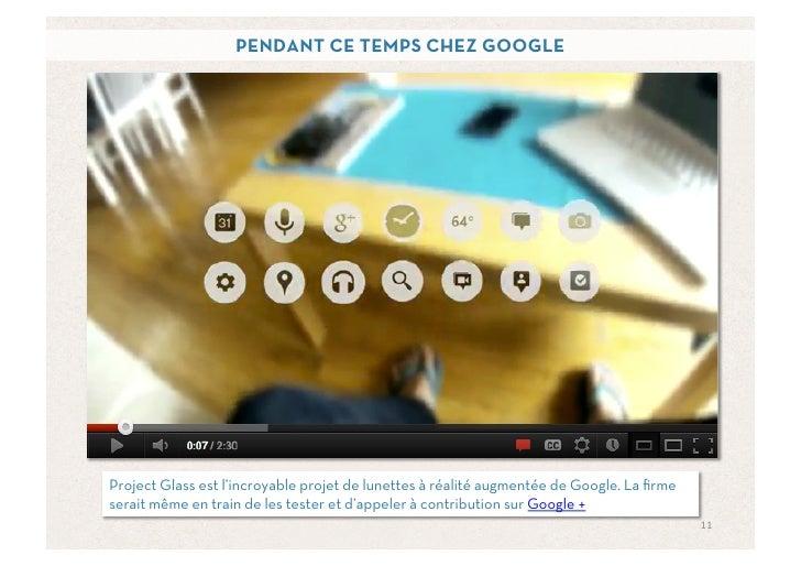 PENDANT CE TEMPS CHEZ GOOGLEProject Glass est l'incroyable projet de lunettes à réalité augmentée de Google. La firmeserait...