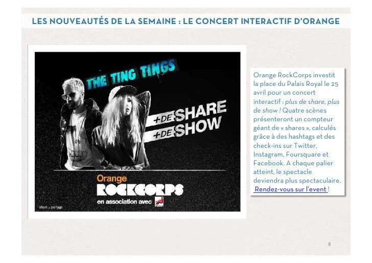 LES NOUVEAUTÉS DE LA SEMAINE : LE CONCERT INTERACTIF D'ORANGE                                           Orange RockCorps i...