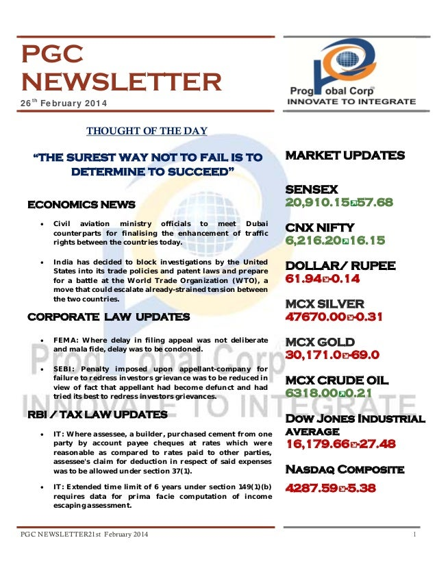 """PGC NEWSLETTER 26th February 2014  THOUGHT OF THE DAY """"the  surest way not to fail is to determine to succeed""""  ECONOMICS ..."""