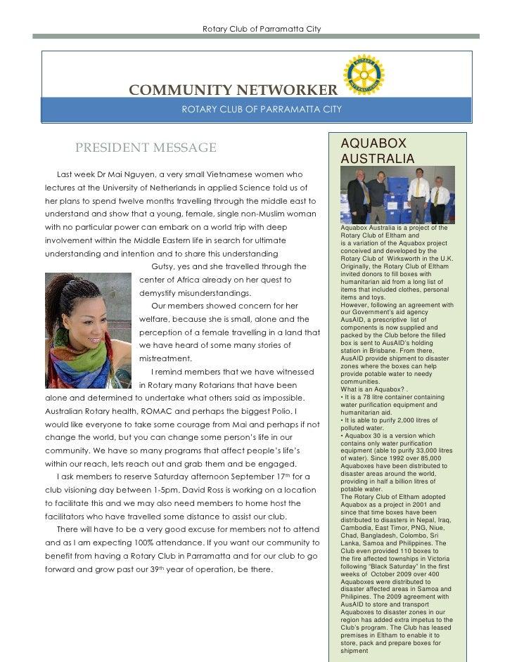 Rotary Club of Parramatta City                      COMMUNITY NETWORKER                                    ROTARY CLUB OF ...