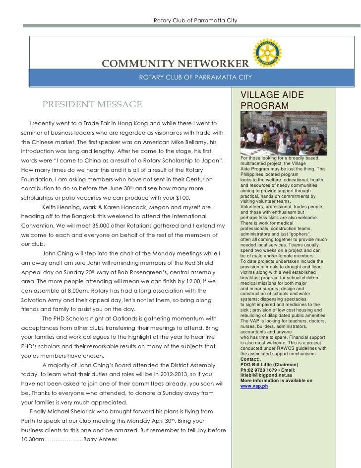 Rotary Club of Parramatta City                               COMMUNITY NETWORKER                                          ...