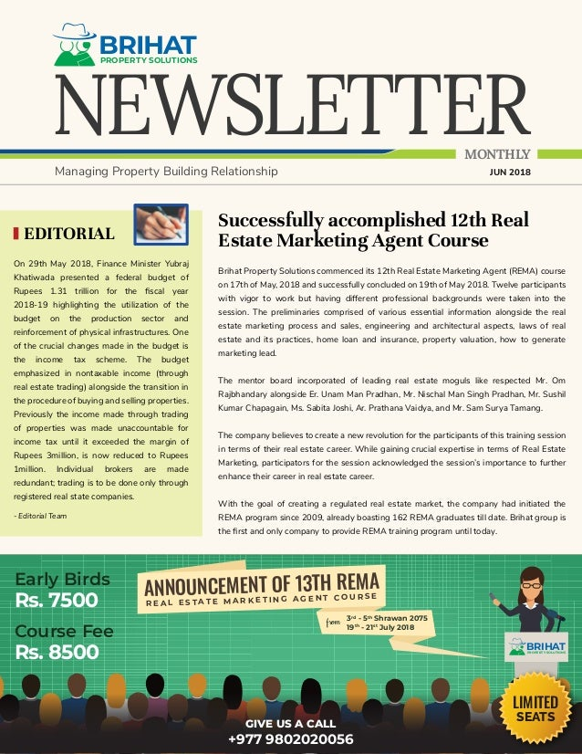 NEWSLETTER BRIHATPROPERTY SOLUTIONS MONTHLY Managing Property Building Relationship JUN 2018 Successfully accomplished 12t...
