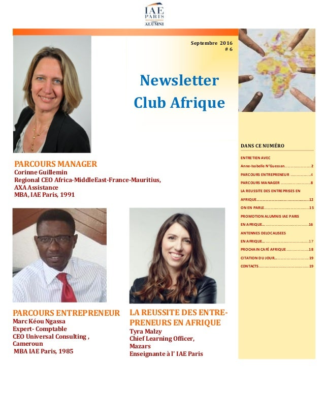 Newsletter Club Afrique Septembre 2016 # 6 PARCOURS MANAGER Corinne Guillemin Regional CEO Africa-MiddleEast-France-Maurit...