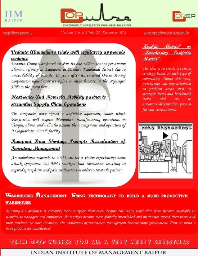 opep@iimraipur.ac.in               Volume: 1 Issue: 7 Date 24th December, 2012      www.opepiimraipur.blogspot.in         ...