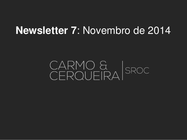 Newsletter 7: Novembro de 2014