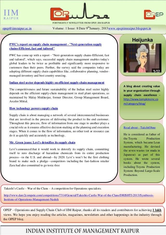 opep@iimraipur.ac.in                   Volume: 1 Issue: 8 Date 9thJanuary, 2013www.opepiimraipur.blogspot.in              ...