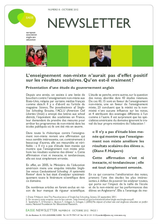 NUMERO 8 - OCTOBRE 2012                         NEWSLETTEREASSEeuropeanassociationsingle-sexeducationL'enseignement non-mi...