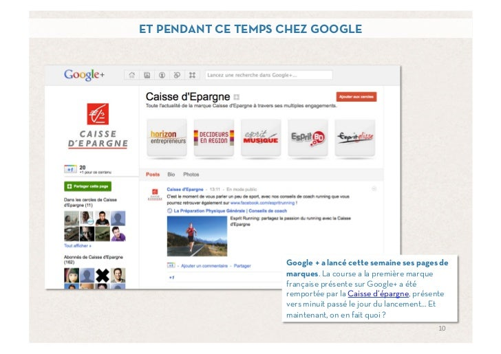 ET PENDANT CE TEMPS CHEZ GOOGLE                    Google + a lancé cette semaine ses pages de                    marques....
