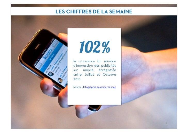 LES CHIFFRES DE LA SEMAINE          102%      la croissance du nombre      d'impression des publicités      sur mobile enr...
