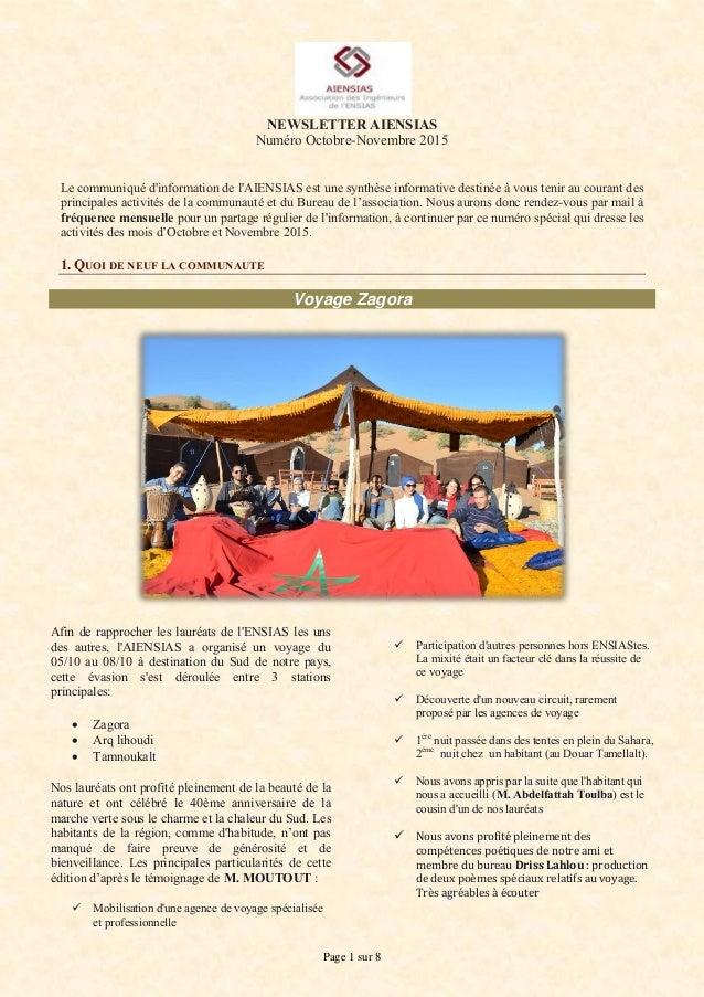 Page 1 sur 8 NEWSLETTER AIENSIAS Numéro Octobre-Novembre 2015 Le communiqué d'information de l'AIENSIAS est une synthèse i...