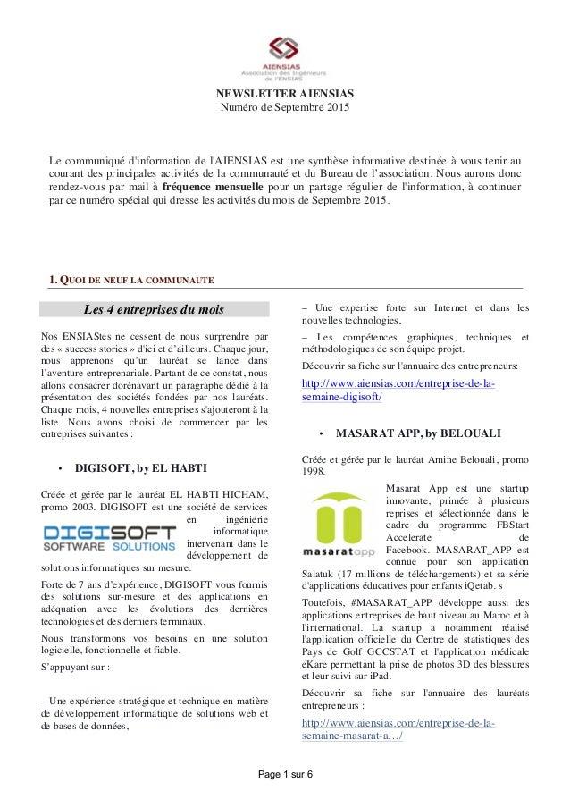 Page 1 sur 6 NEWSLETTER AIENSIAS Numéro de Septembre 2015 Le communiqué d'information de l'AIENSIAS est une synthèse infor...