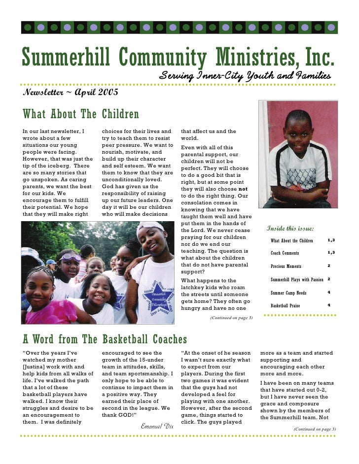 Summerhill Community Ministries,Families                Serving Inner-City Youth and                                      ...