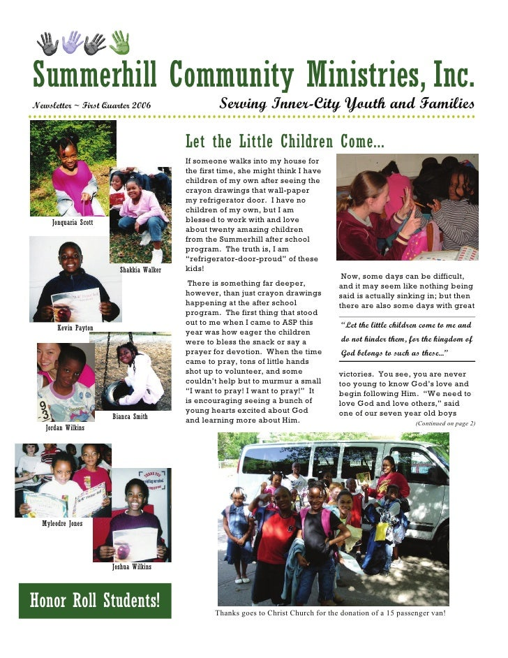 Summerhill Community Ministries, Inc. Newsletter ~ First Quarter 2006                    Serving Inner-City Youth and Fami...