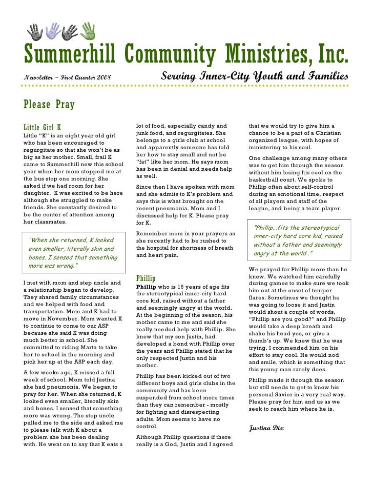 Summerhill Community Ministries, Inc. Newsletter ~ First Quarter 2008                   Serving Inner-City Youth and Famil...