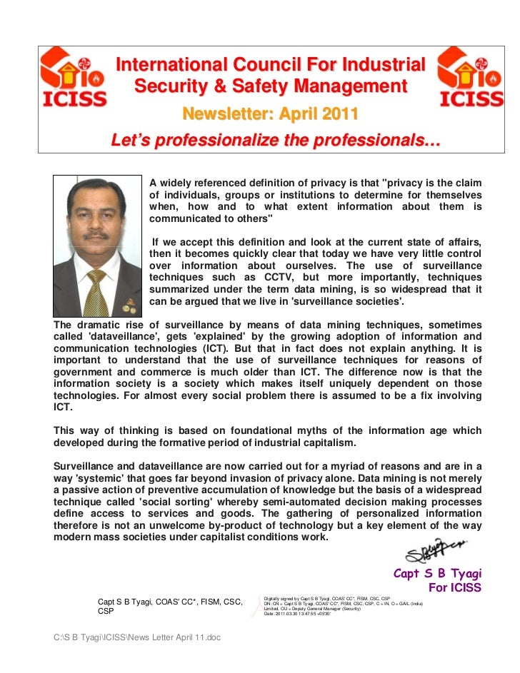 International Council For Industrial                  Security & Safety Management                                 Newslet...