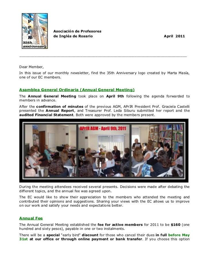 Asociación de Profesores                   de Inglés de Rosario                                          April 2011_______...