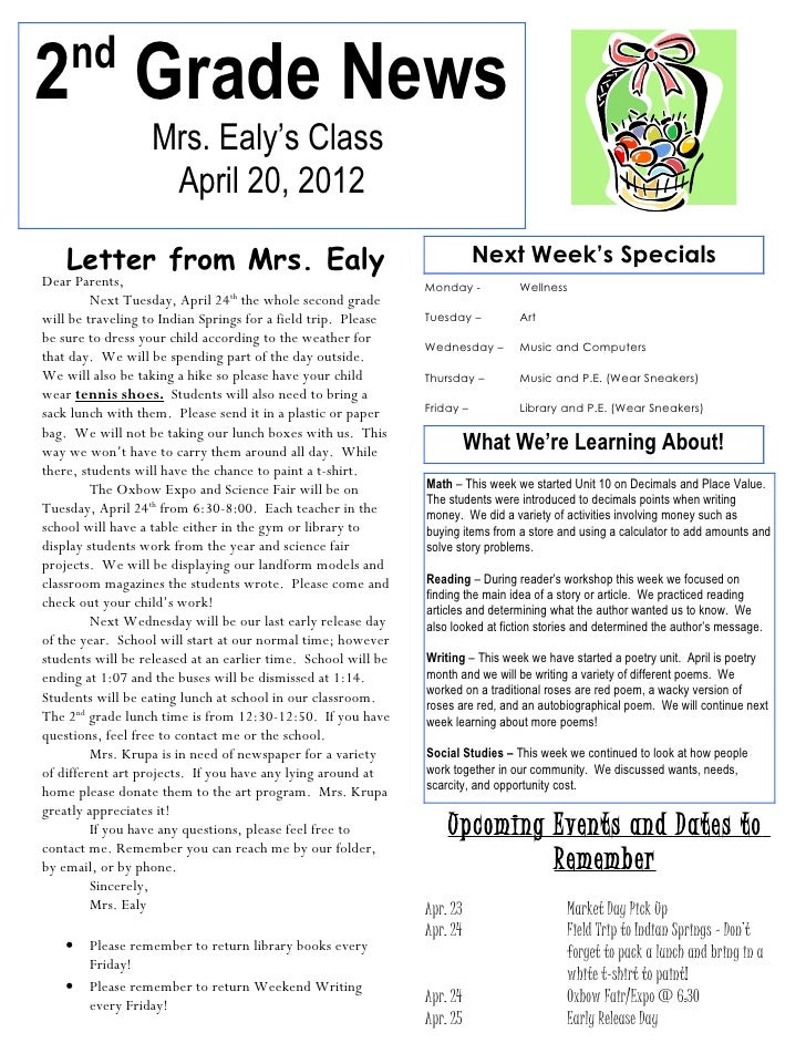 nd2 Grade News                  Mrs. Ealy's Class                   April 20, 2012    Letter from Mrs. Ealy               ...