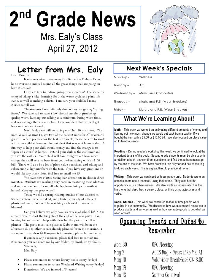 nd2 Grade News                      Mrs. Ealy's Class                       April 27, 2012     Letter from Mrs. Ealy      ...