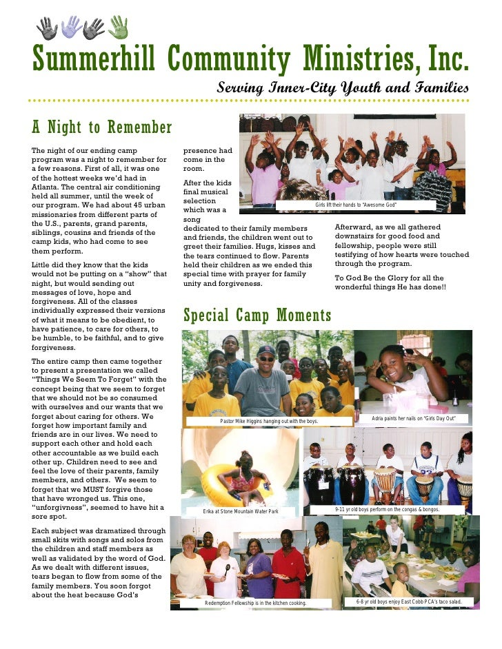 Summerhill Community Ministries, Inc.                                                       Serving Inner-City Youth and F...