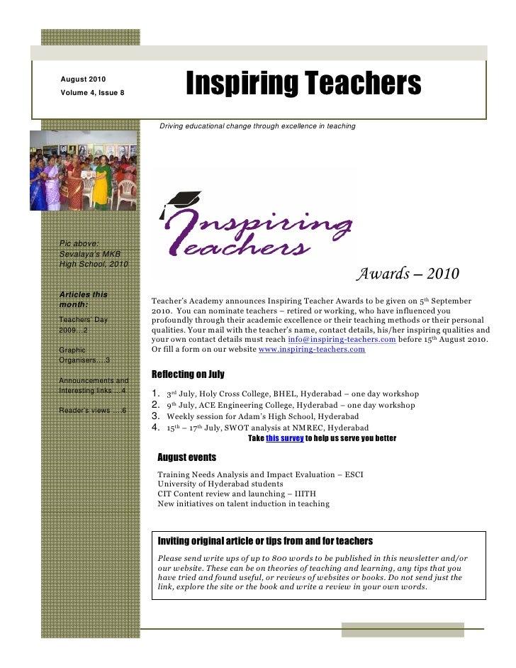 August 2010 Volume 4, Issue 8                Inspiring Teachers                          Driving educational change throug...