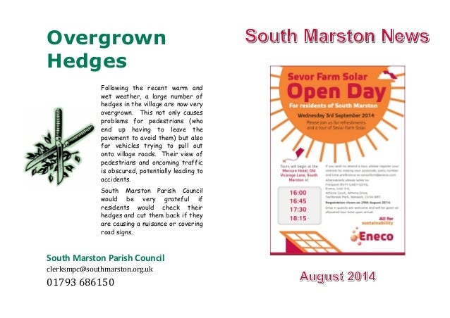 Overgrown Hedges South Marston Parish Council clerksmpc@southmarston.org.uk 01793686150 Following the recent warm and wet...